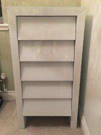 3 white high gloss sets of drawers