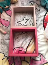 2 x next pink shelves