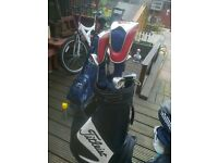 Ping g 15 golf clubs Titleist bag and Hi bore driver and 3 wood plus bay hill putter.G.C.