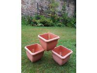 3 x 'Self Watering' 30cm Stewart Balconniere Square Terracotta Look Plant Pots
