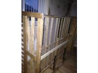 Double pine wooden bed with memory foam mattress