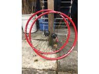 "DT Swiss 420SL Bicycle Rims Shimano Hubs 26"" Wheels (rear incomplete/needs repair)"