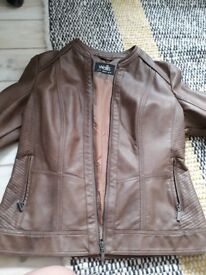 Jacket,tan artificial leather,worn once Wallis 14
