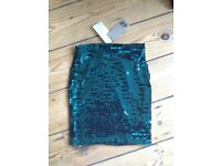 Brand New With Tags Sequin green H&M miniskirt size 34 XS