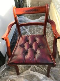 Chesterfield Style Red Leather Desk Chair