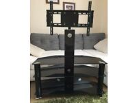 Black glass tv table/ tv stand with mount/ bracket