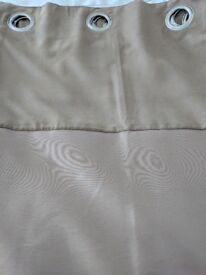 Light Brown Lined Eyelet Curtains