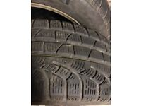 Winter Tyres. Pirelli SottoZero 215/55 R16. On VW 5 stud steel wheels with trims.