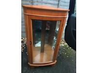 Solid Wood/glass corner cabinet OPEN TO OFFERS