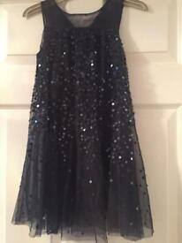 Girls Navy Sequin Party Dress Age 5