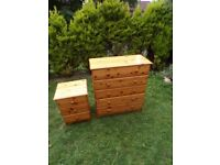 CAN DELIVER - PINE CHEST OF DRAWERS WITH BEDSIDE CABINET IN VERY GOOD CONDITION
