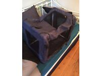 Blue Foldable Plastic and Mesh Dog Crate