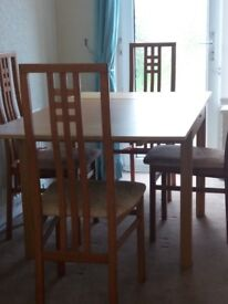DINING TABLE AND 5 CHAIRS