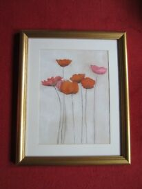 Print/Picture of Red Poppies in Gilt/Gold Frame
