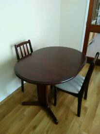 Mahogany extending table and 4 chairs