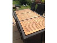 6 seater rattan & teak garden furniture with cushions & cover.