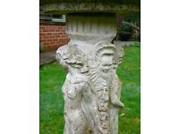 Stone Bird Bath Three Graces aged and weathered - 80cm. high : this is a heavy item