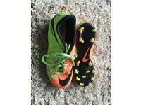 Nike boys football boots size 4 hypervenom green and orange