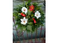 "Fresh holly wreaths ""free delivery"""