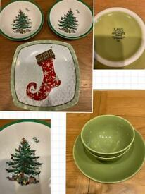 Kitchen tableware clearance Christmas themed bowls and plate