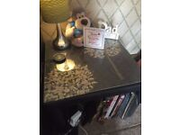 Bedside tables - pair - black faux leather with glass tops