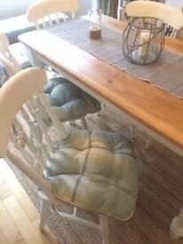 6 x Dunelm highland check duck egg seat pads cushions