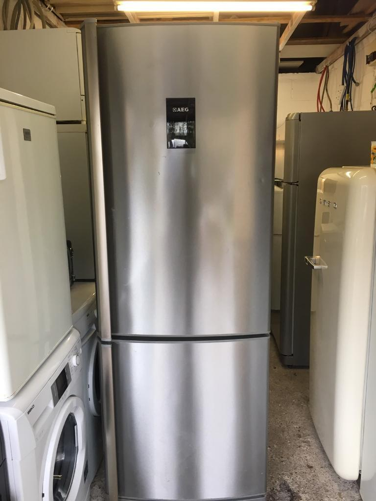 Stunning AEG Fridge Freezer 70cm wide Stainless Steel Fully Working Just £125 Sittingbourne