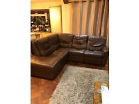 Corner leather sofa reclining