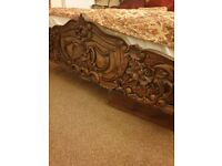 French Rococo Solid Mahogany Hand Carved Bed size superking with all bedding as shown in photo