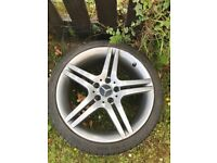 3 Mercedes alloy wheels 1 rear 2 front 2 with tyres need slight refurb £70 each ono