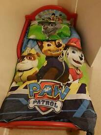 Red paw patrol toddler bed with mattress