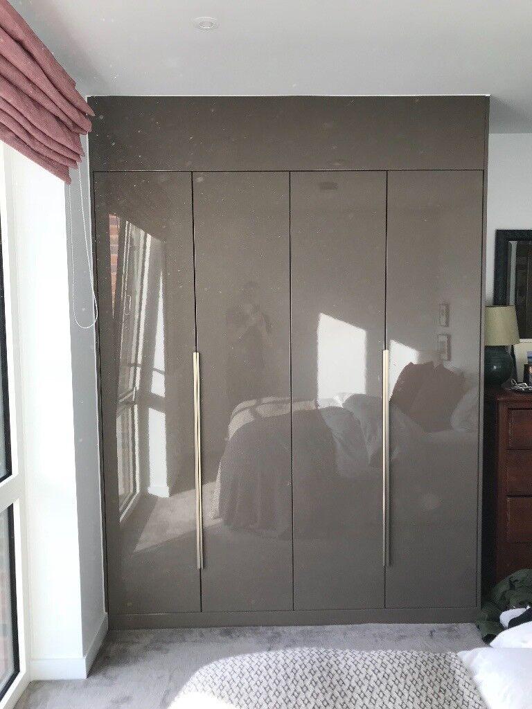 Moores Bedroom Fitted Wardrobe Dark Grey Gloss Modern