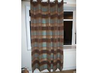 Full Length Teal, Gold & Brown Striped Curtains
