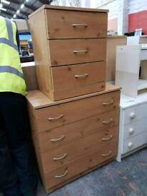 Pine effect bedroom chest of drawers with bedside drawers