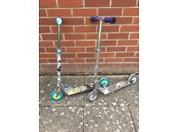 Two childrens scooters scooter