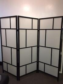 Black wood framed tri fold room divider/ screen X 2