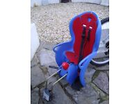 HALFORDS CHILDS SEAT GOES ON BACK OF BIKE WITH FITTING BRACKET ONLY £10