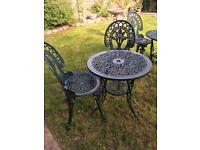 Vintage style cast metal garden patio table chair set . Possible delivery
