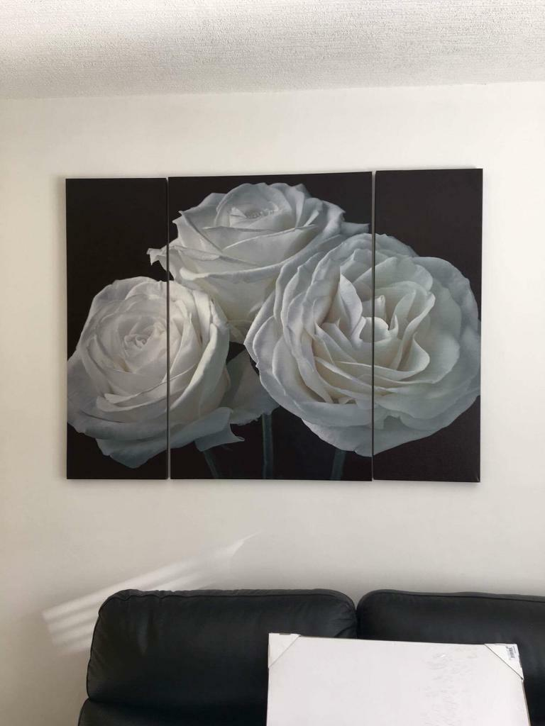 Large rose canvas x3 parts
