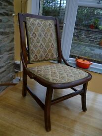 Small antique nursing chair - dark wood, re-upholstered