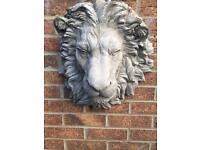 Large stone garden lion's head wall plaque, fantastic detail. New