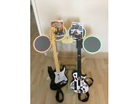 Nintendo Wii Rock Band Drum kit, 2 guitars and games