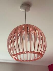 Bedroom lamp shade pale pink