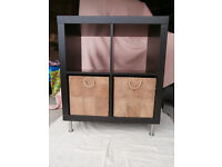 IKEA 'Kallax' storage Unit in Black/brown finish, 4 -compartment with adjustable legs