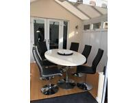 White high gloss table and 6 chairs