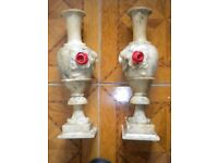 A PAIR OF VERY OLD ALABASTER ORNAMENTS FOR THE GARDEN OR HOUSE 20X4X4 INCHES
