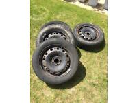 Skoda - Volkswagen wheels 15 inch 5 stud steel wheels with winter tyres 195/55x15