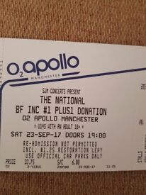 2 x Standing tickets The National Apollo Manchester Sat 23rd September