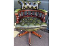 Vintage Green Leather Chesterfield Style Swivel Captains Chair