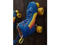 Blue and yellow roller skates size 3